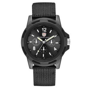 ミリタリー メンズ アナログ腕時計 ナイロン製ベルト 《ブラック》 アーミー アウトドア カジュアル クォーツウォッチ(定形外郵便、代引不可、送料別商品)|yleciel