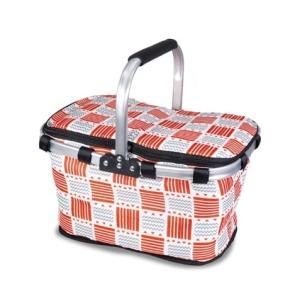 30L クーラーバスケット 《スクエアボーダー》 保温 保冷 保冷バッグ 買い物かご アウトドア キャンプ(送料別商品)|yleciel