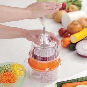 野菜の回転スライサー 野菜調理器 クルル clulu (オレンジ)