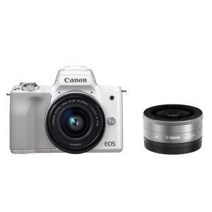 《新品》 Canon (キヤノン) EOS Kiss M ダブルレンズキット ホワイト|ymapcamera