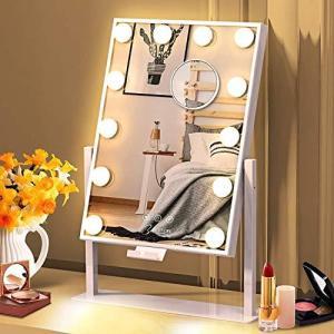 化粧鏡 女優ミラー 卓上鏡 ハリウッドミラー 三色照明モード 明るさ調節可能 12個LED電球付き 10倍拡大鏡付き 360度回転|ymitsp