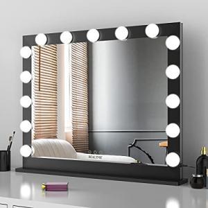 女優ミラー ライト付き 大型化粧鏡 ハリウッドミラー 15個の調光可能なLED電球付きウォールマウントミラー 壁掛け 10倍拡大鏡付き 3色照明モード|ymitsp
