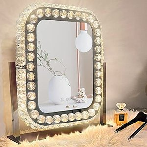 女優ミラー ハリウッドミラー クリスタルミラー 3つ照明モード 明るさ調節可能 360度回転 LED電球付き デスクトップ フィルライト 化粧台 寝室|ymitsp