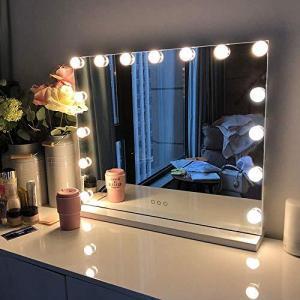 FENCHILIN 化粧鏡 女優ミラー ハリウッドミラー 壁掛け/卓上両用 USBポート付き 三色照明モード 無段階調光 15個LED電球付き 10倍|ymitsp