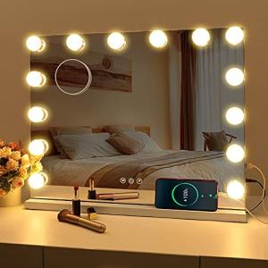 FENCHILIN 化粧鏡 女優ミラー ハリウッドミラー 壁掛け/卓上両用 USBポート付き 三色照明モード 明るさ調節可能 14個LED電球付き 1|ymitsp