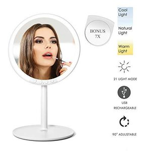 PinSpace 化粧鏡 66個のLEDライト 寒暖色調節可能 21種明るさ調節 充電式 90°回転 ?送7倍拡大鏡 高清鏡 取り外し可能 卓上ミラー|ymitsp