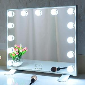 BEAUTME 化粧鏡 女優ミラー 卓上/壁掛け両用 ハリウッドミラー 3色照明モード 明るさ調節可能 13個Led電球付き 500x110x471m|ymitsp