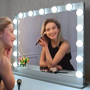 BEAUTME 女優ミラー 大きい ハリウッド化粧鏡 15個LED電球付き 3色明るさ調整 10倍拡大鏡付き/化粧台 卓上/壁掛け両用 (70/55.|ymitsp