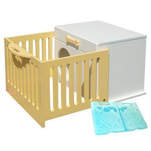 ペットハウス「オアシス ケージ付き」 犬,猫,ペットの暑さ対策、熱中症予防に室内用ひんやりハウス (ナチュラル) ymitsp