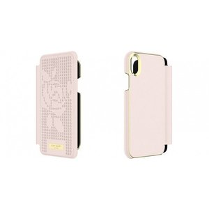 Kate Spade iPhoneXR ケース 手帳型 kate spade new york INLAY WRAP FOLIO ROSE PERF rose quartz|ymobileselection