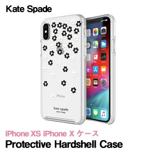 Kate Spade iPhoneXS iPhoneX ケース kate spade new york Protective Hardshell Case ケイトスペード Scattered Flowers Black White Gold Gems Clear|ymobileselection