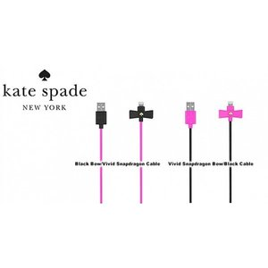 【kate spade new york】 Bow Charge/Sync Cable - Captive Lightning Vivid Snapdragon Bow/Black Cable|ymobileselection
