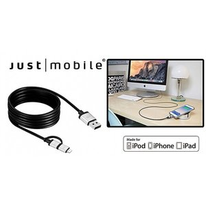 Just Mobile AluCable Duo Lightning & microUSBケーブル (1.5m)|ymobileselection