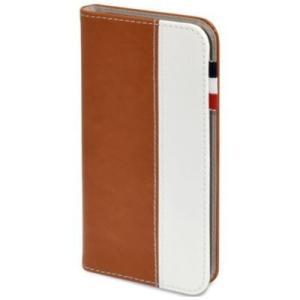 日本トラストテクノロジー BOOK Type for iPhone 7 ブラウン/ホワイト|ymobileselection