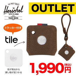 Herschel KEY CHAIN + TILE  BROWN LEATHER  レザーキーチェーン Bluetoothトラッカー|ymobileselection