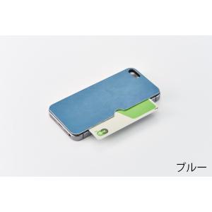 iPhone SE / 5s / 5 カードポケット背面テクスチャーシート ブルー|ymobileselection