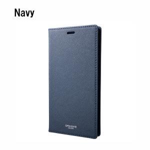 GRAMAS iPhoneXSMax ケース 手帳型 レザー EURO Passione PU Leather Book Case NVY|ymobileselection