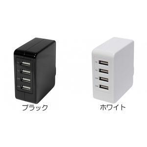 Owltech AC-USB充電器 USBポートx4 合計5.1A出力 スイングプラグ ホワイト ymobileselection