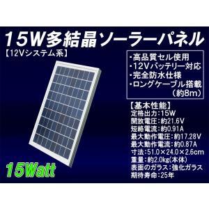 15W多結晶ソーラーパネル(12Vシステム系・超高品質)(MSP15W12V)船舶や自動車のバッテリー上がり防止に!