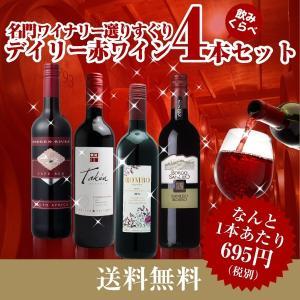 ワインセット デイリーワイン赤 4本セット 送料無料※(本州のみ)|yo-sake