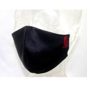 アマビエ布マスク(黒) ポリエステルサテン 裏生地 綿100% ガーゼ生地|yo-yamato