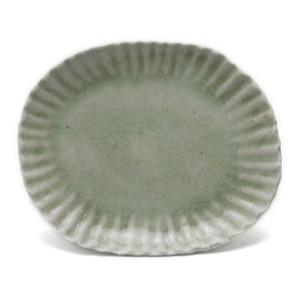 灰釉ビードロ小判輪花浅皿・有松進《小皿・13.5cm》|yobi