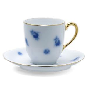 磁器:バラ文岡染めコーヒー碗皿・大倉陶園《コーヒーカップ・皿セット・140ml》|yobi