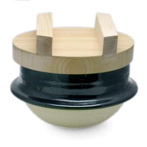 伊賀焼:織部釜5寸・土楽窯《土鍋・1〜2合》 yobi