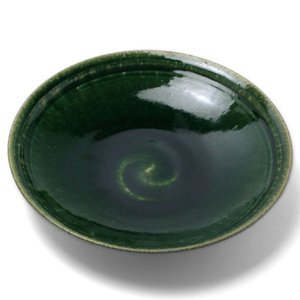 織部焼:織部7寸平鉢・長森慶《大鉢・21.4cm》 yobi