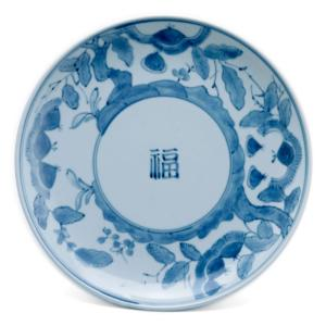 栗に福字文7寸皿・藤塚光男《中皿・22.0cm》 yobi