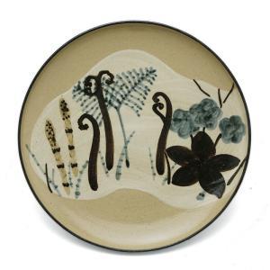 京焼・乾山写春草紋平向付・伏原博之《中皿・17.0cm》|yobi