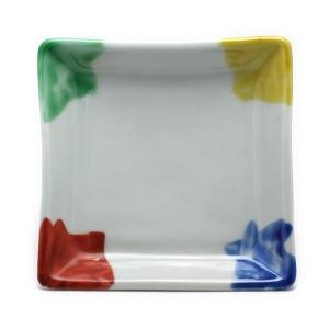 《定期販売》色絵四色角小皿・古川章蔵《小皿・11.0cm》|yobi