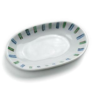 青緑線文小判小皿・赤・古川章蔵《小皿・12,5cm》|yobi