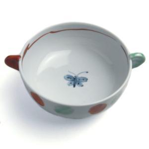 色絵耳付スープ碗・大・赤緑点・古川章蔵《小鉢・13.0cm》|yobi