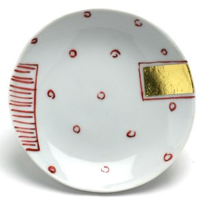 《定期販売》金箔赤点線面文丸小皿・古川章蔵《小皿・10.5cm》|yobi