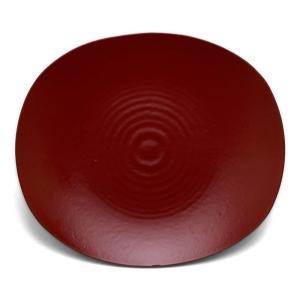 漆器:朱蒔地小判皿・守田漆器《小皿・16.7cm》 yobi