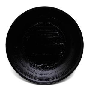 漆器・黒錆刷毛目宗寛盆6寸・守田漆器《銘々皿・菓子皿・ケーキ皿・取り皿・18cm》 yobi
