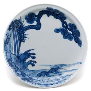 染付:鯉松皿・大・土山敬司《中皿・20.2cm》 yobi