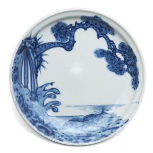 染付:鯉松皿・小・土山敬司《小皿・15.2cm》 yobi