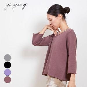 インヤン ヨガウェア トップス yinyang Tシャツ 長袖 ヴィーガンニットタイバック インヤン|yoga-pi