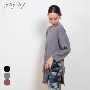 インヤン ヨガウェア トップス yinyang Tシャツ 長袖 ヴィーガンニットサイドスリット インヤン|yoga-pi