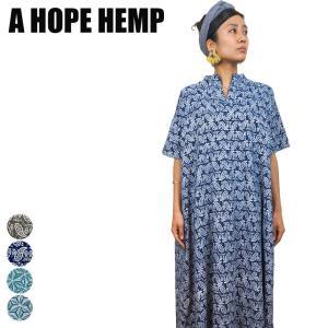 a hope hemp Tシャツ レディース アホープヘンプ ヘンプ 服  スキッパーボリュームフレア ワンピース asaha ペイズリー 柄 yoga-pi