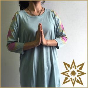 送料無料 JAVARA タイダイ染め チュニック Tシャツ 五分丈 袖フラワー タイダイ Tシャツ レディース 半袖 ヨガウェア(javara-tp-flower)|yoga-pi