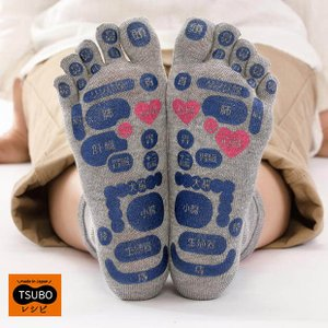 TSUBOレシピ 靴下 ソックス つぼマップ 日本製 5本指 メンズ レディース 足つぼマッサージ|yoga-pi