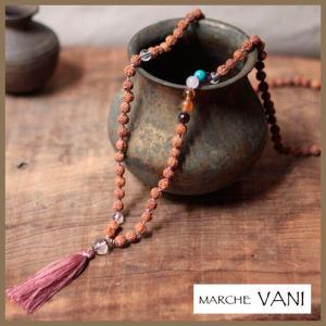 マーラー VANI chakrastone-crystalknot マラ ヨガ アジアン エスニック アクセサリー 天然石 ルドラクシャ 瞑想 ネックレス|yoga-pi