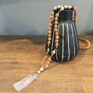 マーラー VANI earth epidote smoky quartz マラ ヨガ アジアン エスニック アクセサリー 天然石 ルドラクシャ 瞑想 ネックレス|yoga-pi