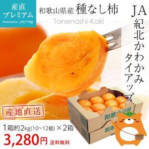 柿 たねなし柿 種なし柿 4kg 10〜12玉x2箱 かき カキ 和歌山県 産地直送 送料無料