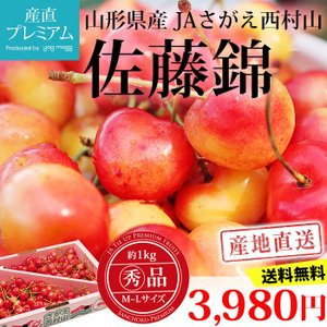 さくらんぼ 佐藤錦 丸秀品 M〜Lサイズ 1kg サクランボ...