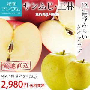 りんご 青森 3kg サンふじ 王林 特A 9〜12玉 産地...