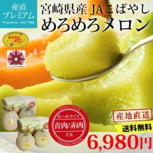 メロン めろめろメロン 3L〜4Lサイズ 青肉又は赤肉 2玉 宮崎県